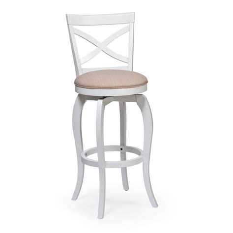 White Wooden Bar Stools With Backs by White Wood Swivel Cushioned Bar Stool With X Back Design