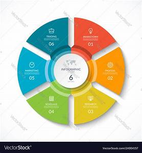 Infographic Circle Cycle Diagram With 6 Stages Vector Image