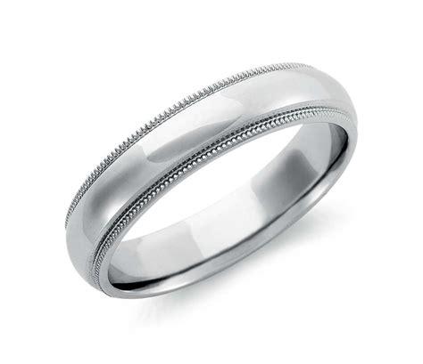 milgrain comfort fit wedding ring in palladium 5mm blue nile