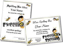 printable spelling bee certificates  classroom spelling