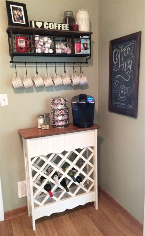 A coffee bar is a great alternative to home bars. 49 Exceptional DIY Coffee Bar Ideas for Your Cozy Home   Homesthetics - Inspiring ideas for your ...
