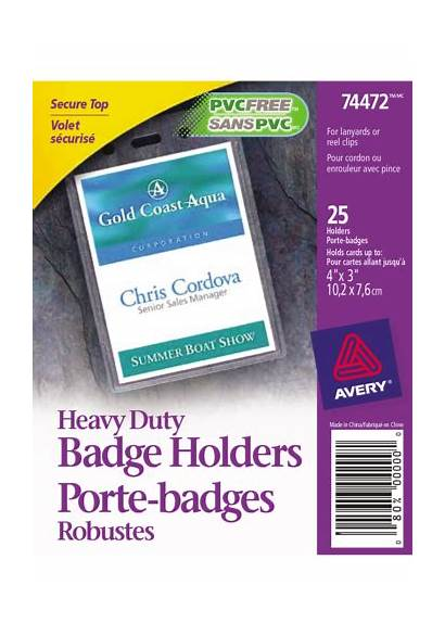 Avery Badge Vertical Badges Holders Clear