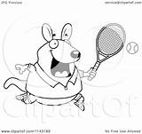 Wallaby Kangaroo Tennis Playing Cartoon Clipart Coloring Chubby Outlined Vector Thoman Cory Regarding Notes sketch template