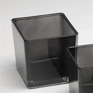 Vase Schwarz Glas : glasvase fum w rfel glas vase tischvase blumenvase grau schwarz 14 cm ebay ~ Indierocktalk.com Haus und Dekorationen