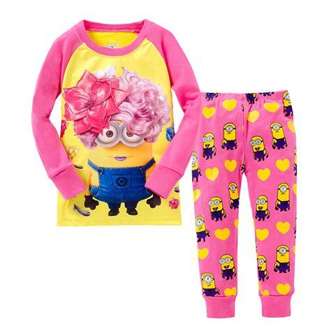 cotton pajamas size 3 sale 2016 flower minions pajamas 2pcs tops