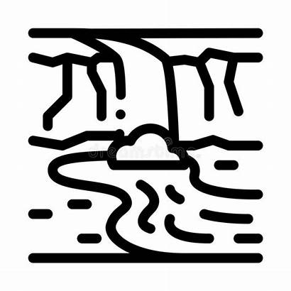 River Icon Outline Among Symbol Mountains Illustrations