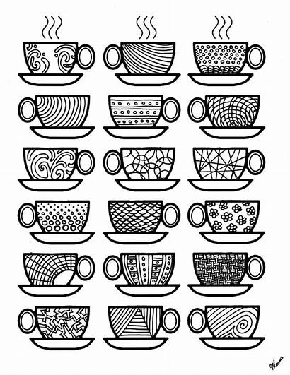 Coloring Coffee Pages Cups Adult Colouring Adults