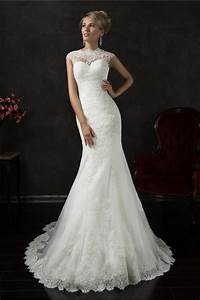 Mermaid high neck cap sleeve illusion back lace wedding for High back wedding dress