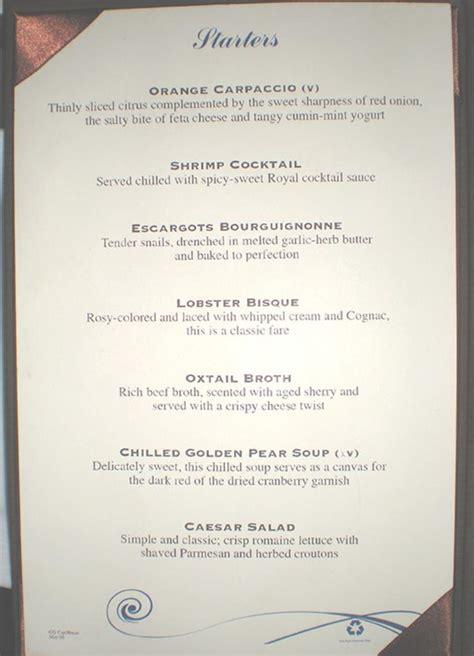 sea deck restaurant menu grandeur of the seas menu dining room 2