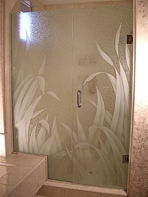 frosted shower doors etched glass shower sans soucie glass
