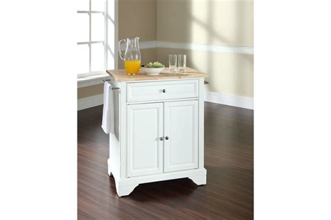 Lafayette Natural Wood Top Portable Kitchen Island In
