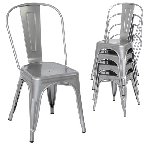 set   stacking metal industrial style dining chairs