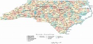 North Carolina Digital Vector Map with Counties, Major ...