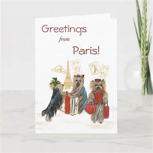 Yorkie Travel Paris Eiffel Tower Christmas Card Zazzle Com