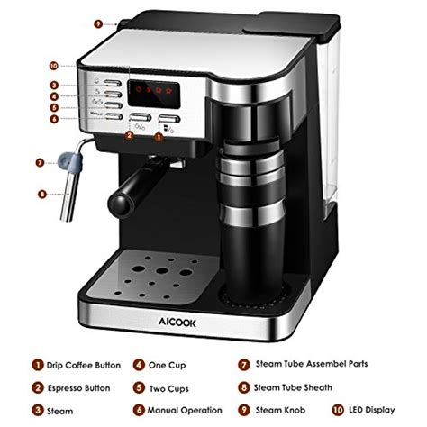 Coffee cafe barista espresso and cappuccino maker is one the most convenient coffee makers in the market. Aicook Espresso And Coffee Machine, 3 In 1 Combination 15Bar Espresso Machine And Single Serve ...