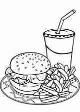 Fries Coloring Burger Pages Hamburger Food Drawing Clipart Milkshake Junk Sheets French Fry Sheet Shake Burgers Milkshakes Shakes Printable Colouring sketch template