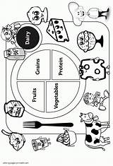 Coloring Pages Healthy Printable Sheet Unhealthy Groups Dairy Protein Rocks Colouring Clipart Breakfast Pyramid Worksheet Popular Meals sketch template
