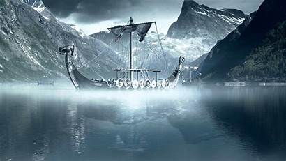 Viking Nordic Fjord Medieval Longboats Background Woman
