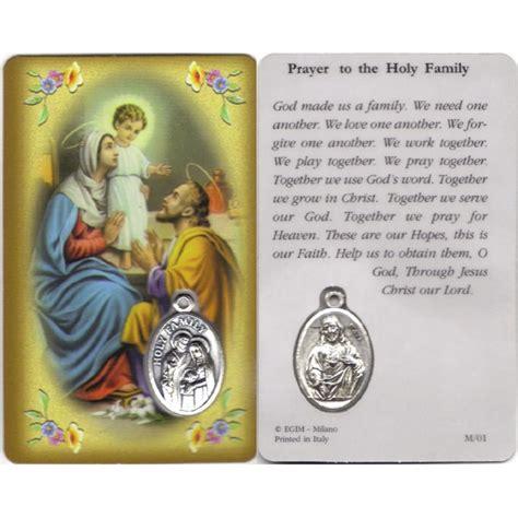 holy family prayer card  medal cm