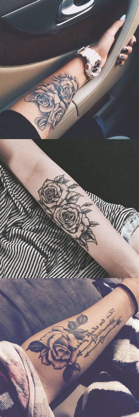 black rose forearm tattoo ideas girly realistic floral