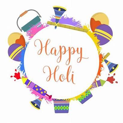 Holi Festival Vector Flat Clipart Splash Card