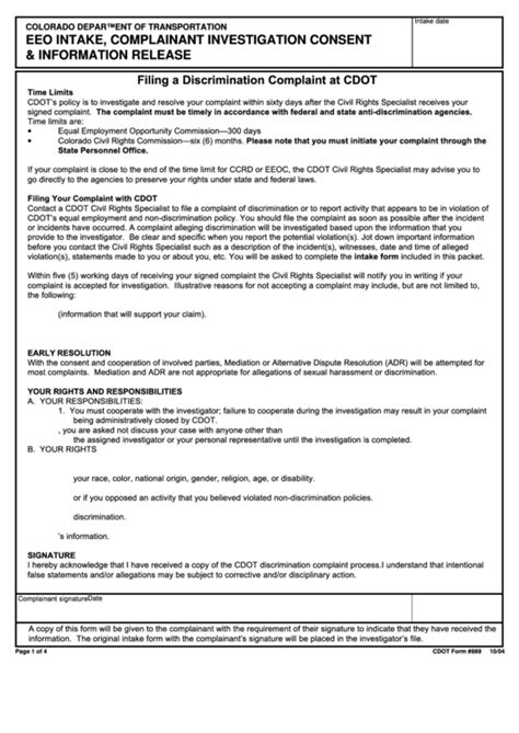 cdot form  eeo intake complainant investigation
