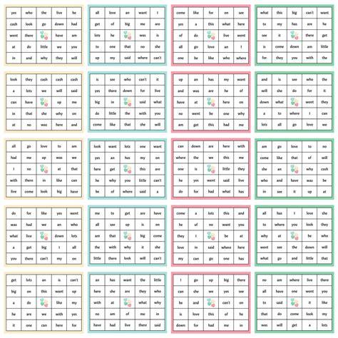 valentines day sight word bingo  printable package