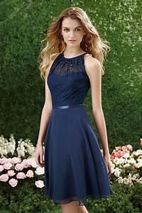 robe bleu marine col illusion en dentelle au genou pour With robe habillée mariage