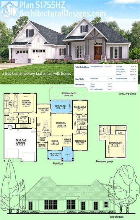 plan hz  bed contemporary craftsman  bonus  garage architectural design house