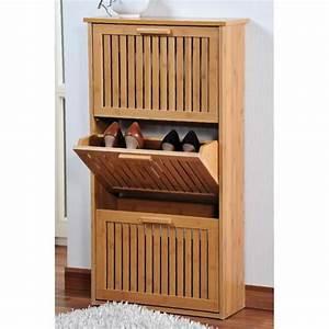 Petit Meuble à Chaussures : meuble chaussures 3 niveaux en bambou rangement chaussures ferm achat vente petit ~ Teatrodelosmanantiales.com Idées de Décoration