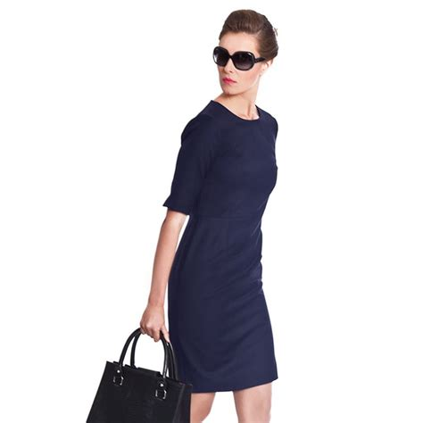 Navy blue dresses | Navy Blue Business Dress by NOOSHIN Main - Navy Work Dress Office ...