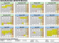 Schulkalender 20182019 Bremen für Excel