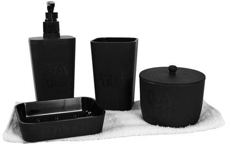coffret 5 accessoires salle de bain bath noir