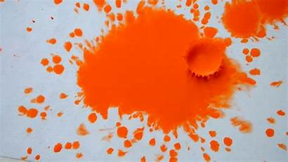Paint Droplets Orange Ink Paper Spreads Wet