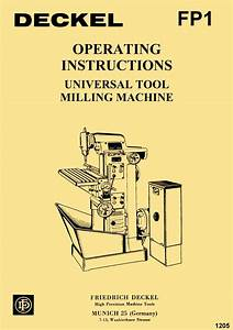 Deckel Model Fp1 Universal Tool Milling  U0026 Boring Machine