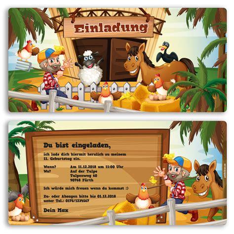 einladung zum geburtstag bauernhof pony einladungskarten