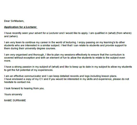 cover letter lecturer application letter