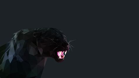 Low Poly Animal Wallpaper - black panther cat low poly wallpapers hd desktop and