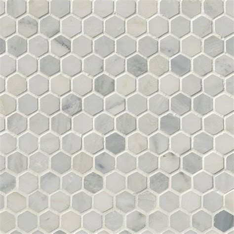 arabescato 1 quot white honed hexagon mosaic tiles