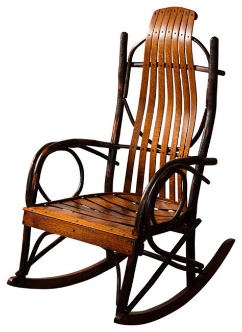 amish made hickory rocker lightly stained without