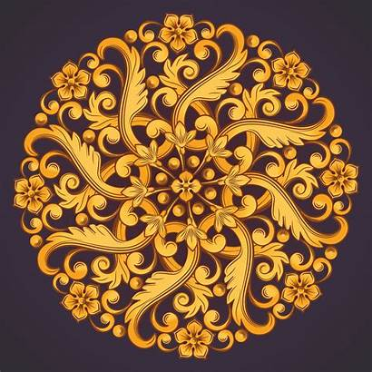 Round Ornamental Orange Element Yellow Vector Colors