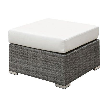 Cushioned Ottoman by Wicker Ottoman With Fabric Upholstered Cushioned Seat
