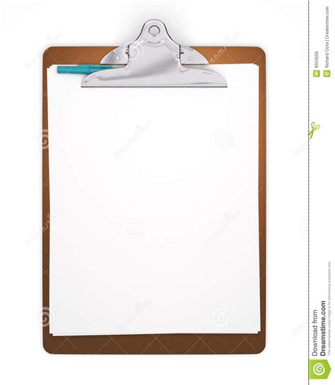 clipboard and pen clipart isolated blank clipboard with pen stock illustration