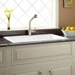 signature hardware kitchen sinks signature hardware 36 quot frattina cast iron drop in kitchen