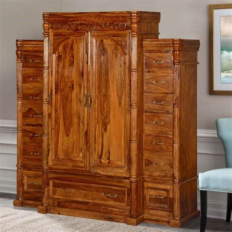 Wardrobe Armoire by Royal Elizabethan Solid Wood 15 Drawer Wardrobe Armoire