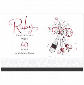 shop ruby anniversary anniversary invitations and With ruby wedding invitations templates free