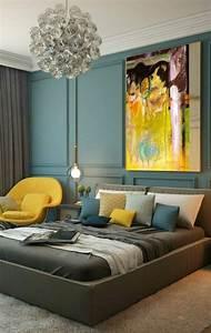 1001 idees pour une chambre bleu canard petrole et paon for Tapis jaune avec lit simple canapé