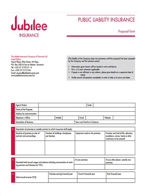 liability insurance forms  samples examples