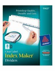 index maker clear labels dividers with white tabs 11437 8 With clear label stock