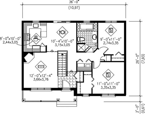 Traditional Style House Plan 2 Beds 1 Baths 900 Sq/Ft